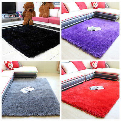 Thick Pile Modern Soft Shimmer Shaggy Rug Small X Large Plain  Rug Ht