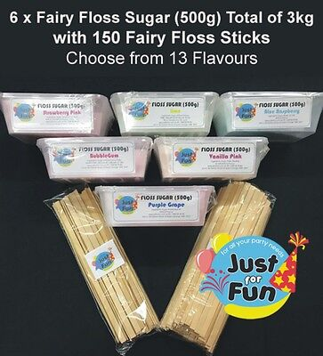 Floss Sugar (3kg) with 150 Fairy Floss Sticks You Choose from 13 Flavours