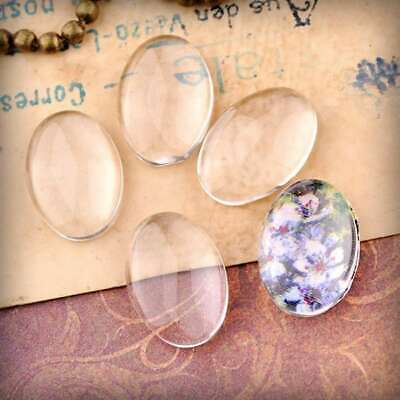 4/6/8pcs Clear Glass Cabochon Flatback Oval Craft DIY For Charm Pendant Necklace