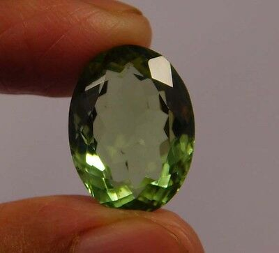 10 Cts. Natural Dyed Oval Faceted Green Kunzite Quartz Cut Loose Gemstone (NF55)