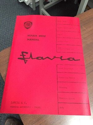 Lancia Flavia (Factory) Workshop Manual Instruction Service Repair Technical
