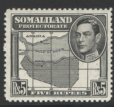 Somaliland 1938 Kgvi And Map 5R Sc#95 Mh Stamp 6P561 Cv $28 Top