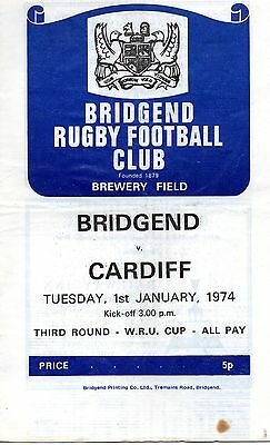 Jan 74 Bridgend v Cardiff Welsh Cup