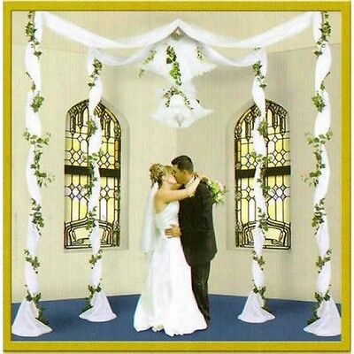 Elite Collection White Fabric Wedding Canopy
