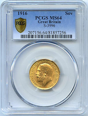 Royaume-Uni George V Souverain Sovereign Or Gold 1916 Pcgs Ms 64