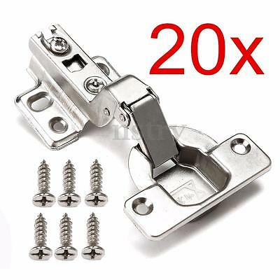 20x Stainless Steel Kitchen Cabinet Concealed Door Hinge Inset Plate & Screws