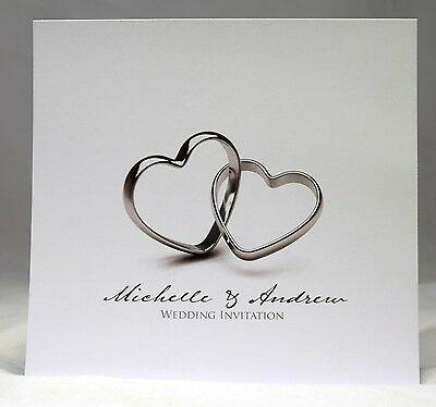 Silver Rings Wedding Invitations personalised,envelopes, day/ evening