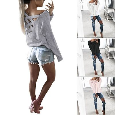 Casual Womens Loose Pullover T Shirt Long Sleeve Cotton Tops Shirt Blouse Shirt