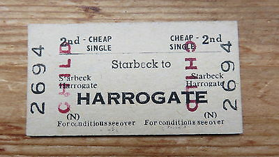 Railway ticket, Starbeck to Harrogate. Issued 1969.