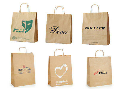 100 x CUSTOM PRINTED, PERSONALISED, KRAFT PAPER CARRIER BAGS. 3 SIZES AVAILABLE