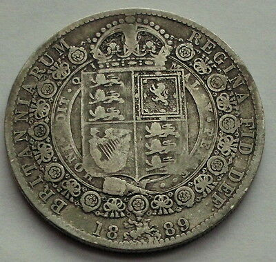 1889  Queen  Victoria  Half  Crown Jubilee Head - Sterling  Silver  Coin