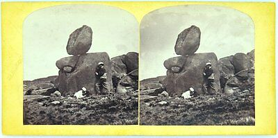 """1860s Charles Woolley Stereoview Photographic Card """"Rocking Stone Mt Wellington"""""""