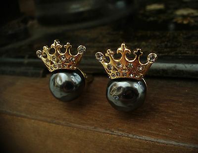 Vintage Gold Crown with Grey Pearl and Black Diamond Crystals. Clip-On Earrings