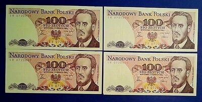 POLAND: 4 x 100 Zloty Banknotes - Almost Uncirculated & Consecutive