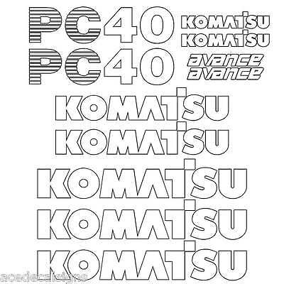 Komatsu PC40-7  Decals Stickers, repro Kit for Mini Excavator