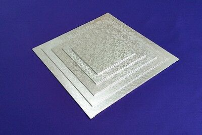 "Cake Boards Cake Drum | Masonite Base | Square 3 mm | Silver | 6"" 8"" 10"" 12"" 14"""
