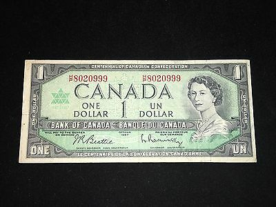 Bank Of Canadian $1 1967 Banknote With Serial Number