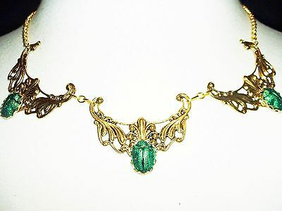 EGYPTIAN REVIVAL Necklace SCARAB Metallic Green Beetle Victorian Gold Plt