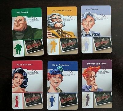 Cluedo Board Game 6 x Suspect Cards Replacement/Spare Parts - 2012 Edition