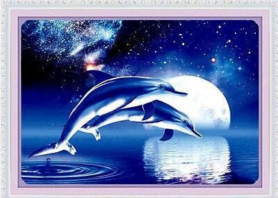 "NEW Cross Stitch Kits""Under the moonlight Dolphins"""