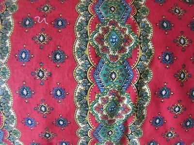 A Beautiful Length Of Vintage French Provencal Striped Floral Printed Cotton