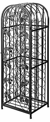 Matt Black Antique Style Freestanding 45 Bottle Wine Rack, Silver Iron Wine Rack