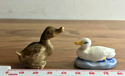 Pair of Porcelain Duck Figurines - One by Wade, Other Marked Made in England