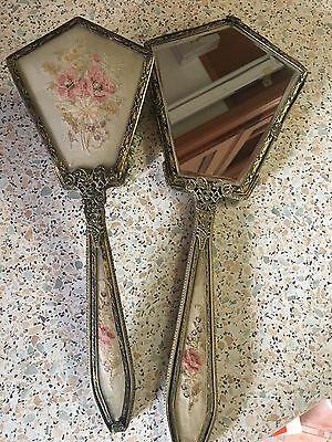 vintage hand brush and mirror set with embroidery Inlays