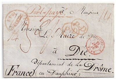 1843 attractive Paid cover Dalston (Hackney) to Die, France