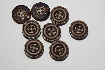 8pc 20mm Dark Brown Mock Leather Coat Trouser Cardigan Kid Button 2720