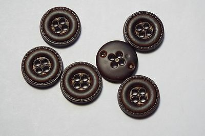 10pc 15mm Dark Brown Mock Leather Coat Trouser Cardigan Kid Button 2721