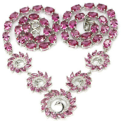 """Pink Tourmaline & White Topaz Woman's Wedding 925 Sterling Silver Necklace 18"""""""