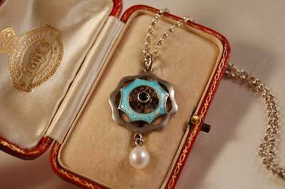 Beautiful Edwardian Vintage Sterling Silver Enamel and Seed Pearl Pendant 925