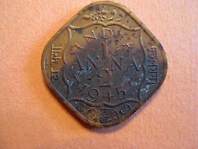 India British 1945 Half Anna King George VI