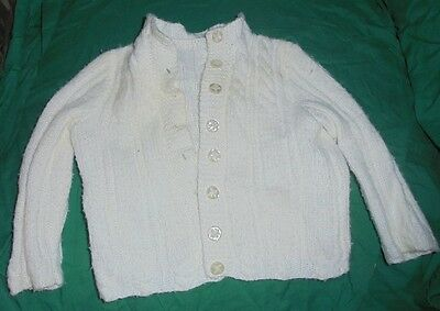 Vintage  Crochet Baby, Cream Sweater, ,1950's