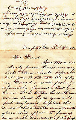 Civil War personal letter dated February 1862