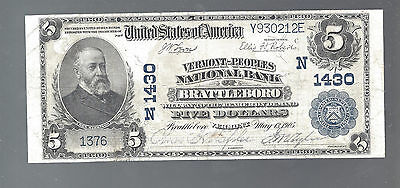 1902 $5 National Currency Note Large Size VERMONT PEOPLES BRATTLEBORO VT 1430