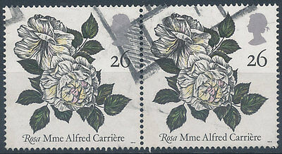 H764  GB  1991  SG1569(PAIR)  26p MME. ALFRED CARNIERE ROSE  USED
