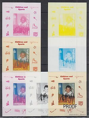 Mongolia - MNH - Sport - Chess - Children - Imperf - Deluxe - Colour Proof