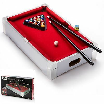 Deluxe Mini Table Top Pool Set Childrens Cue Balls Toy Snooker Game Red