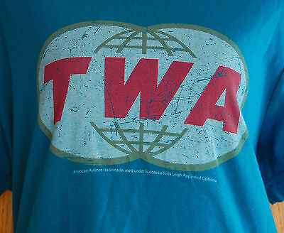 VINTAGE Womens TWA T Shirt XL 80s Trans World Airline Original Logo Teal Graphic