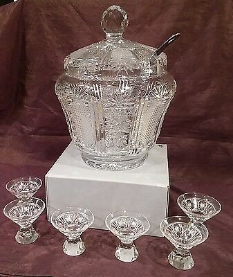 Vintage Crystal Covered Punch Bowl, Ladle, And 6 Glasses