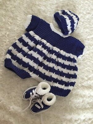 "New: Pretty Hand Knitted 3 Piece Outfit  For A 21""-22"" Reborn Baby Boy"