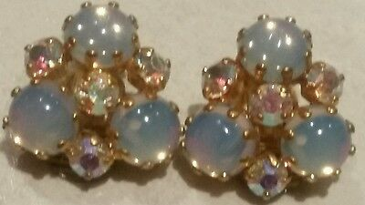 VINTAGE c1950's Aroura B crystal and glass moonstone cabaochon clip on earrings