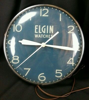NICE Vintage Elgin Watches PAM Clock advertising lighted sign 1950's USA Made