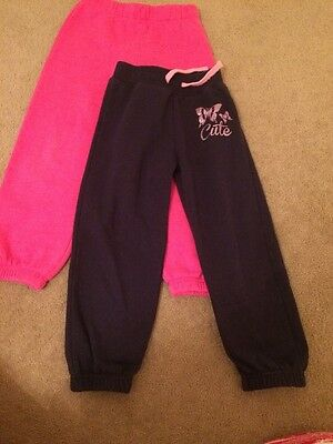 Age 6 To 7, Two Pairs Of Girls Tracksuit Bottoms Pink And Navy