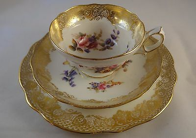 Hammersley Porcelain Cup Saucer Plate Trio #265 Gold Lace Handpainted Flowers VG