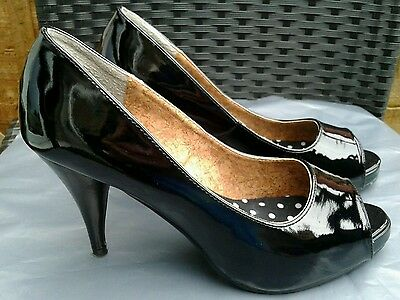 Vgc Ladies Black Patent Leather Platform Court Shoes By Next Size 4.5