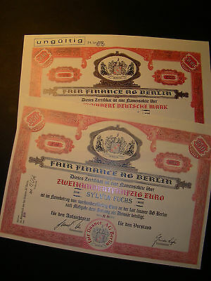 2 diff. Fair Finance AG Berlin, 250 Euro und 500 DM, 1998 und 2002