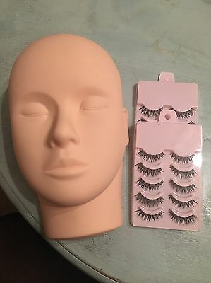 Training Flat Head Mannequin With 10 Pairs Of False Lashes